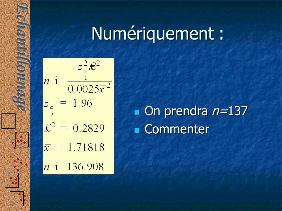 Numériquement : On prendra n=137 Commenter