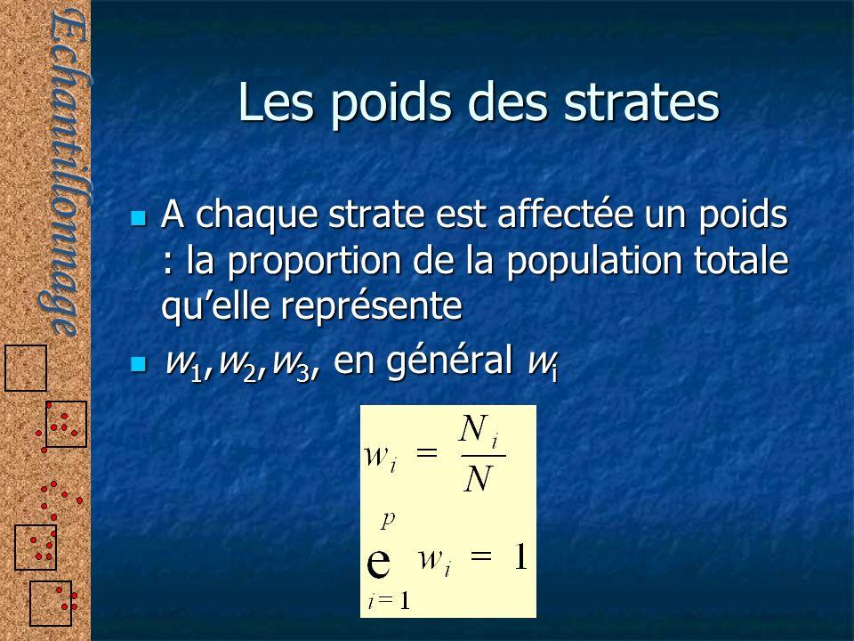 Les poids des strates A chaque strate est affectée un poids : la proportion de la population totale qu'elle représente.