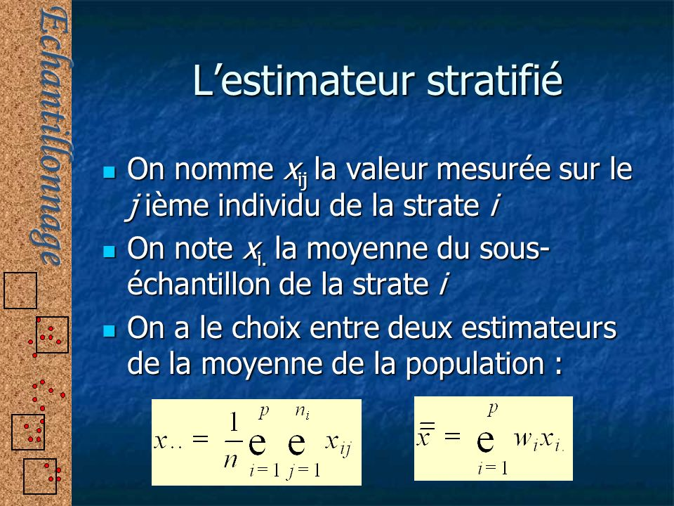L'estimateur stratifié