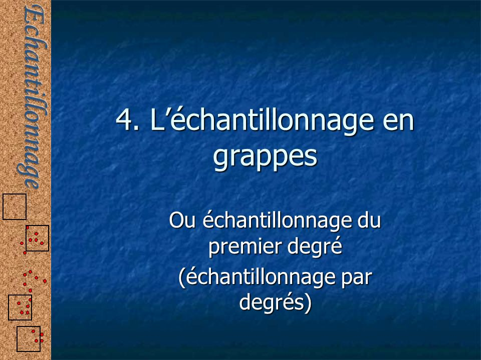 4. L'échantillonnage en grappes