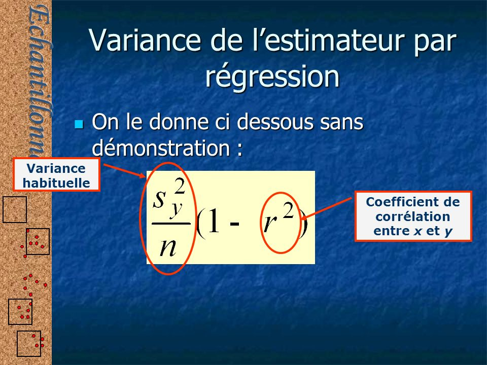 Variance de l'estimateur par régression