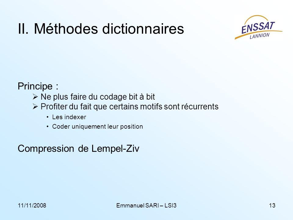 II. Méthodes dictionnaires