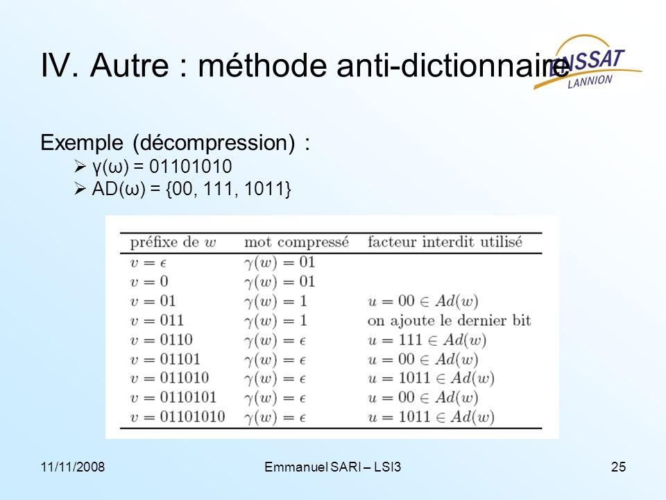 IV. Autre : méthode anti-dictionnaire