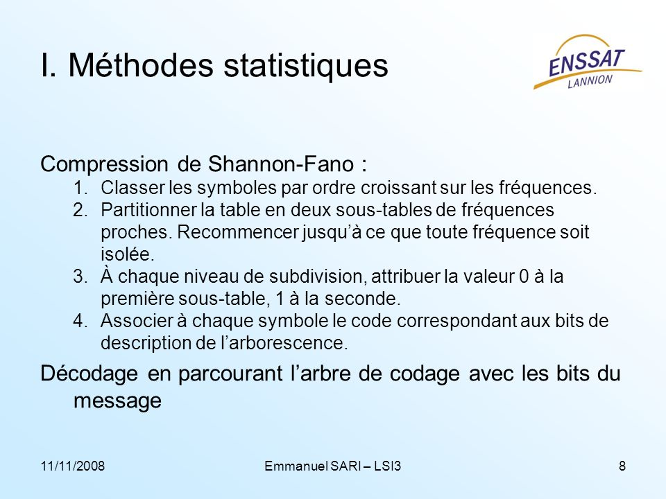 I. Méthodes statistiques