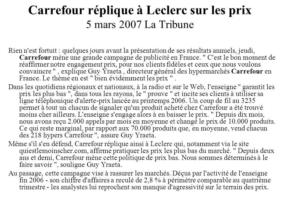 Carrefour réplique à Leclerc sur les prix 5 mars 2007 La Tribune