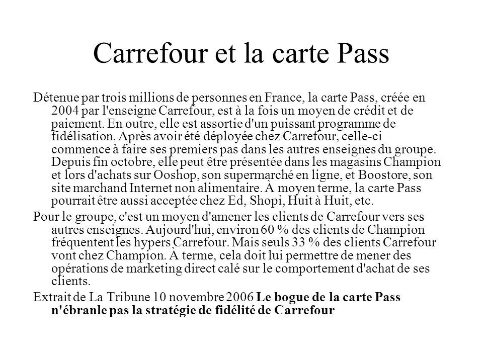 Carrefour et la carte Pass