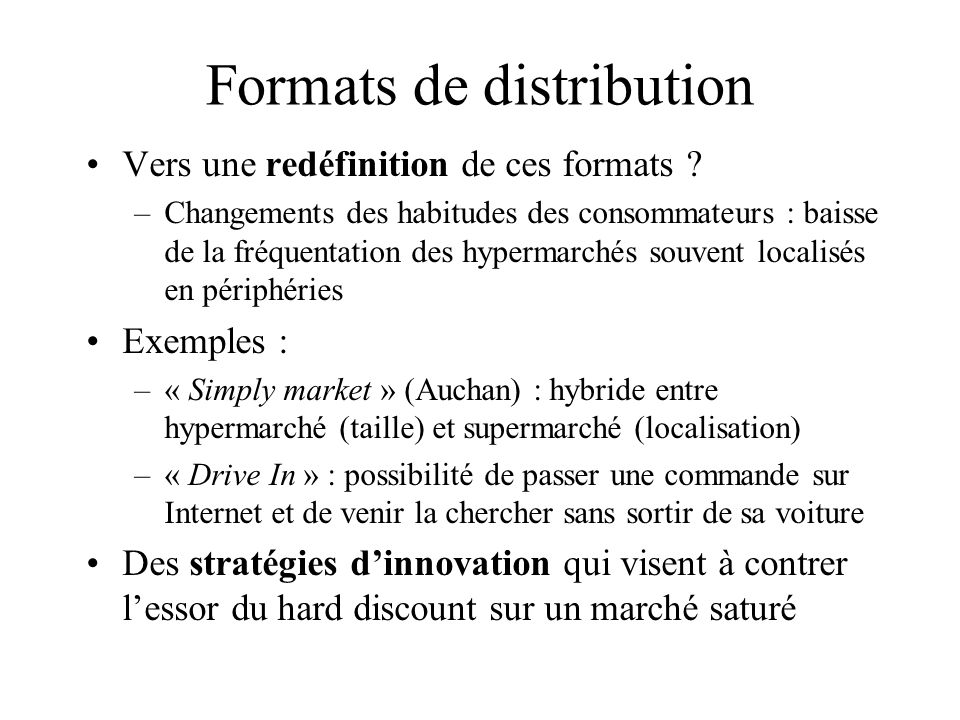 Formats de distribution