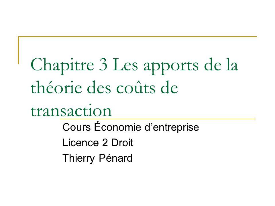 Chapitre 3 Les apports de la théorie des coûts de transaction
