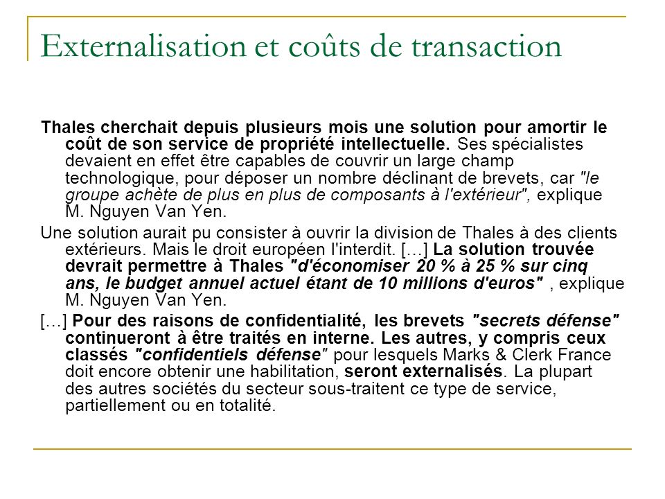 Externalisation et coûts de transaction
