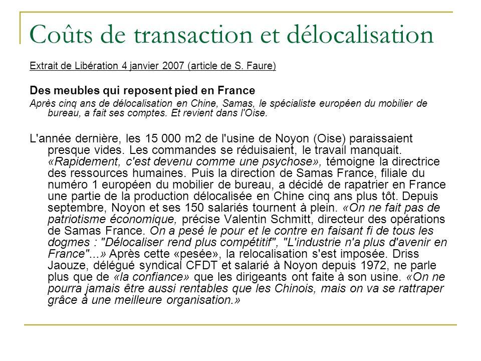 Coûts de transaction et délocalisation