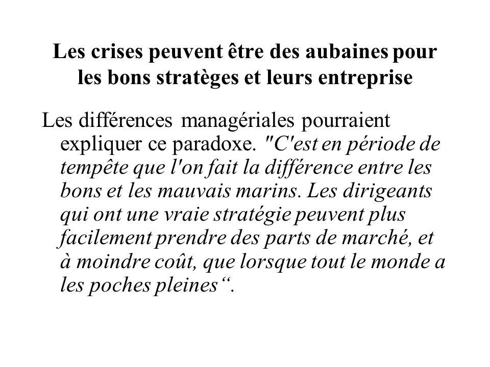 Les crises peuvent être des aubaines pour les bons stratèges et leurs entreprise