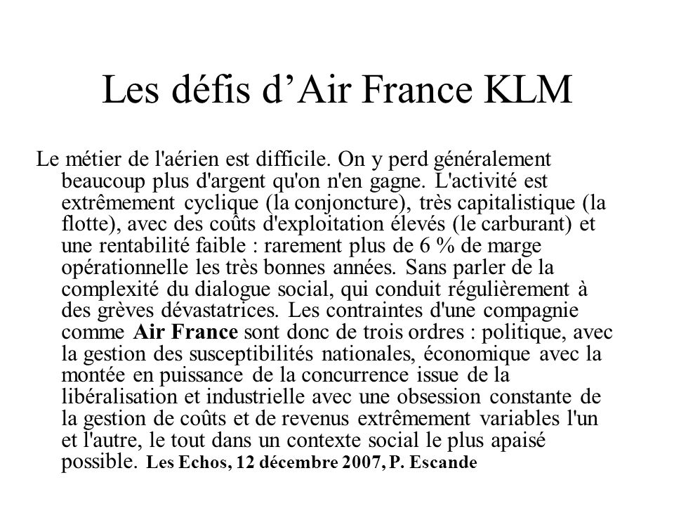 Les défis d'Air France KLM