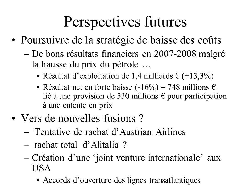 Perspectives futures Poursuivre de la stratégie de baisse des coûts