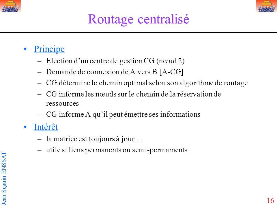 Routage centralisé Principe Intérêt
