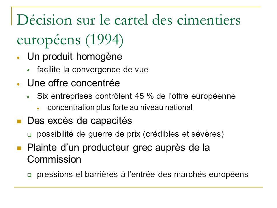 Décision sur le cartel des cimentiers européens (1994)