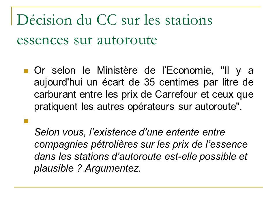 Décision du CC sur les stations essences sur autoroute