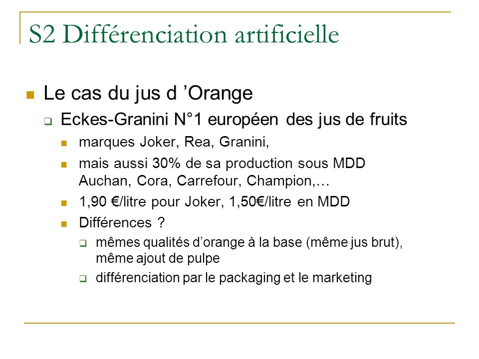 S2 Différenciation artificielle