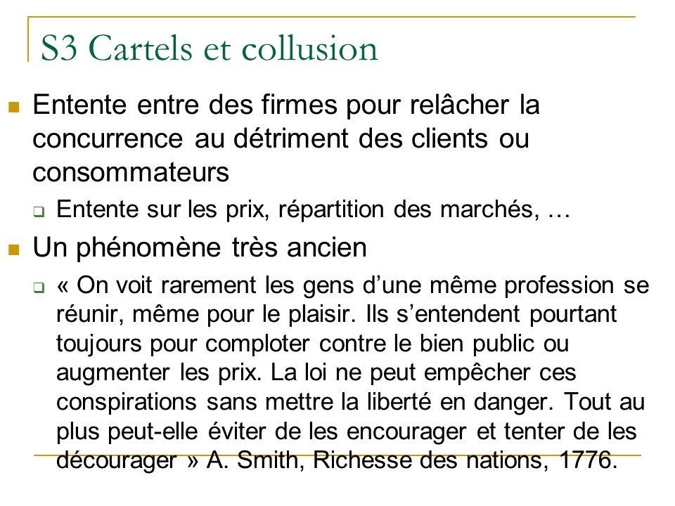 S3 Cartels et collusion Entente entre des firmes pour relâcher la concurrence au détriment des clients ou consommateurs.
