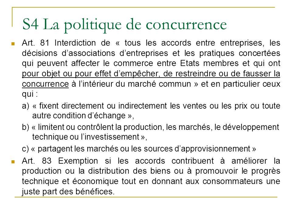 S4 La politique de concurrence
