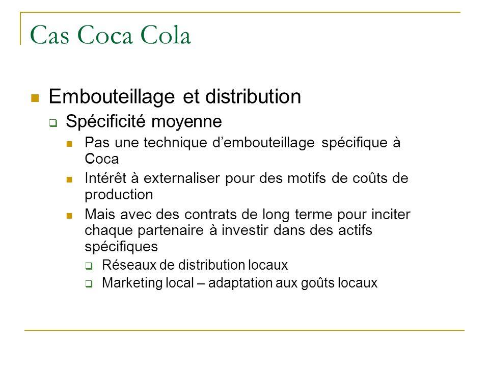 Cas Coca Cola Embouteillage et distribution Spécificité moyenne
