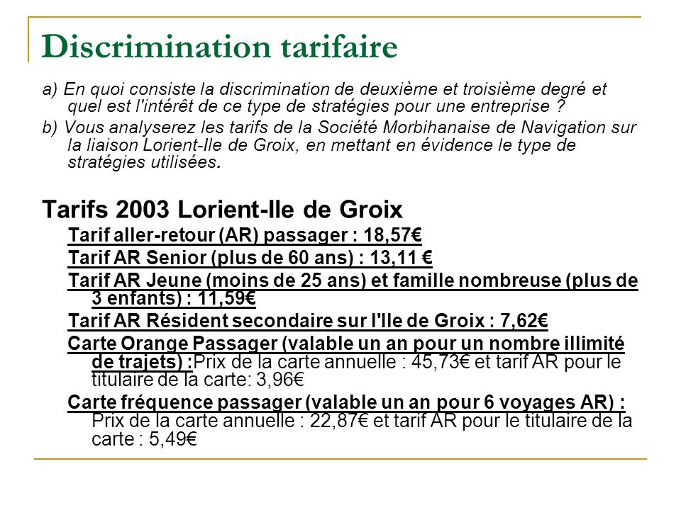 Discrimination tarifaire
