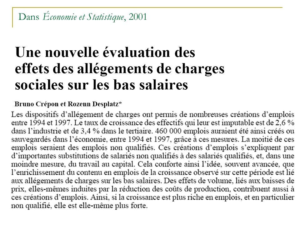 Dans Économie et Statistique, 2001