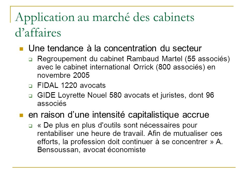 Application au marché des cabinets d'affaires