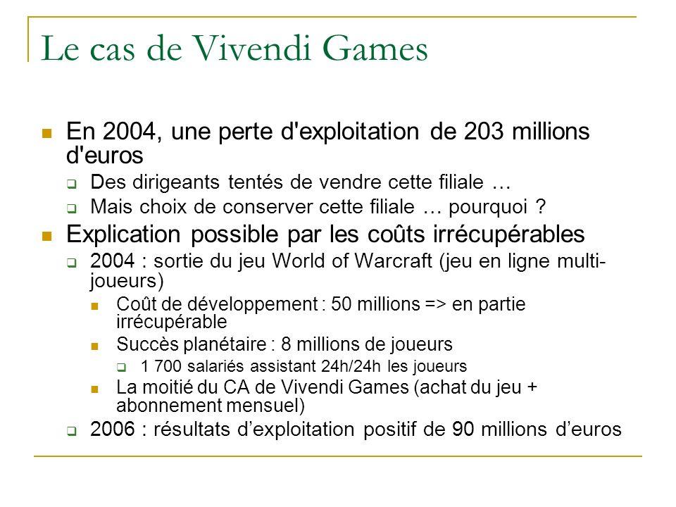 Le cas de Vivendi Games En 2004, une perte d exploitation de 203 millions d euros. Des dirigeants tentés de vendre cette filiale …