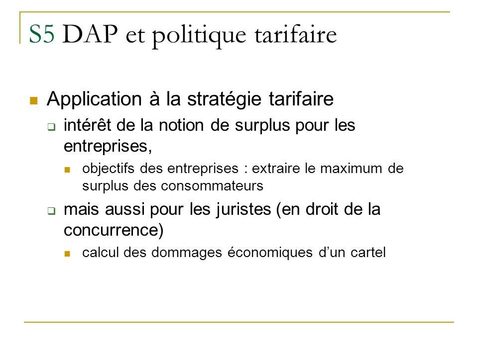 S5 DAP et politique tarifaire