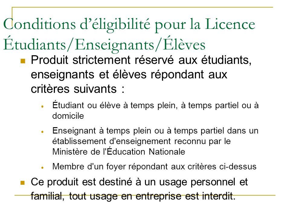 Conditions d'éligibilité pour la Licence Étudiants/Enseignants/Élèves
