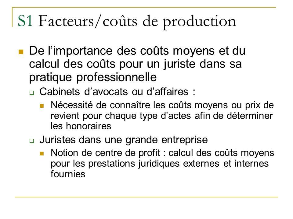 S1 Facteurs/coûts de production