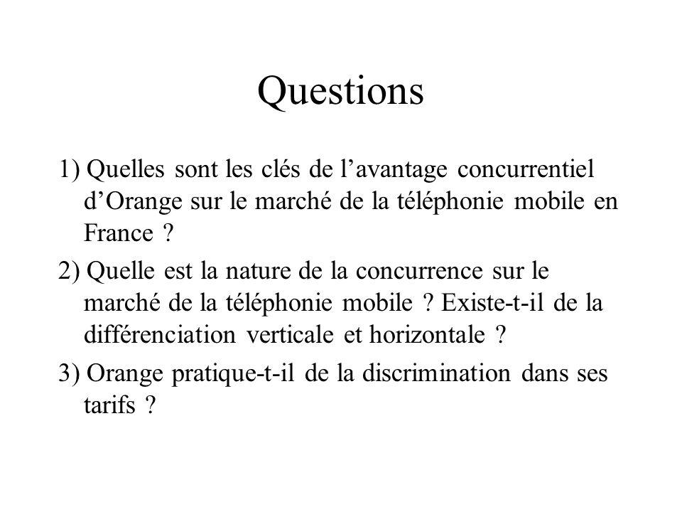 Questions 1) Quelles sont les clés de l'avantage concurrentiel d'Orange sur le marché de la téléphonie mobile en France
