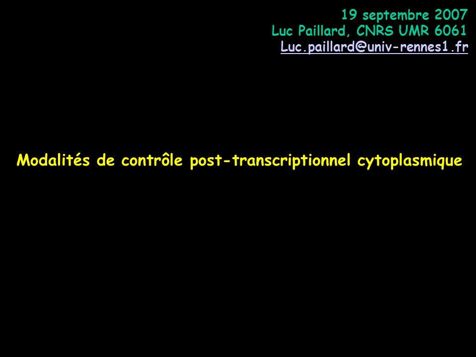 Modalités de contrôle post-transcriptionnel cytoplasmique