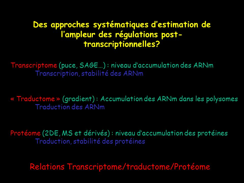 Relations Transcriptome/traductome/Protéome