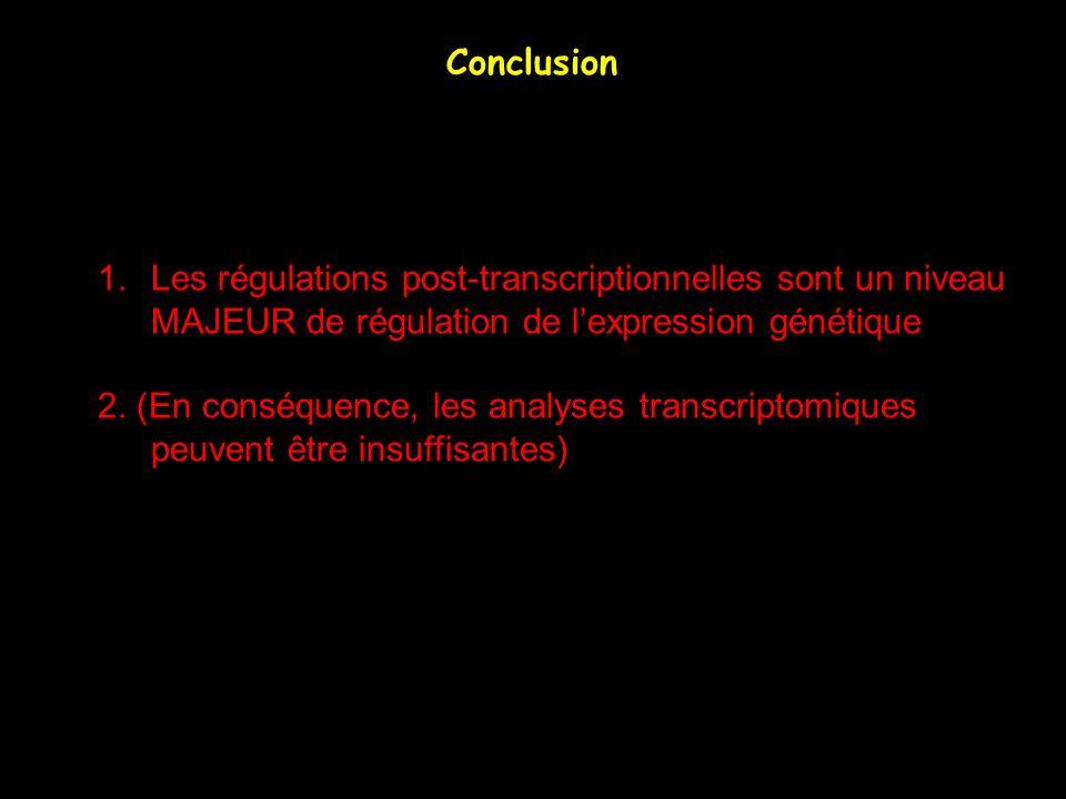 Conclusion Les régulations post-transcriptionnelles sont un niveau. MAJEUR de régulation de l'expression génétique.