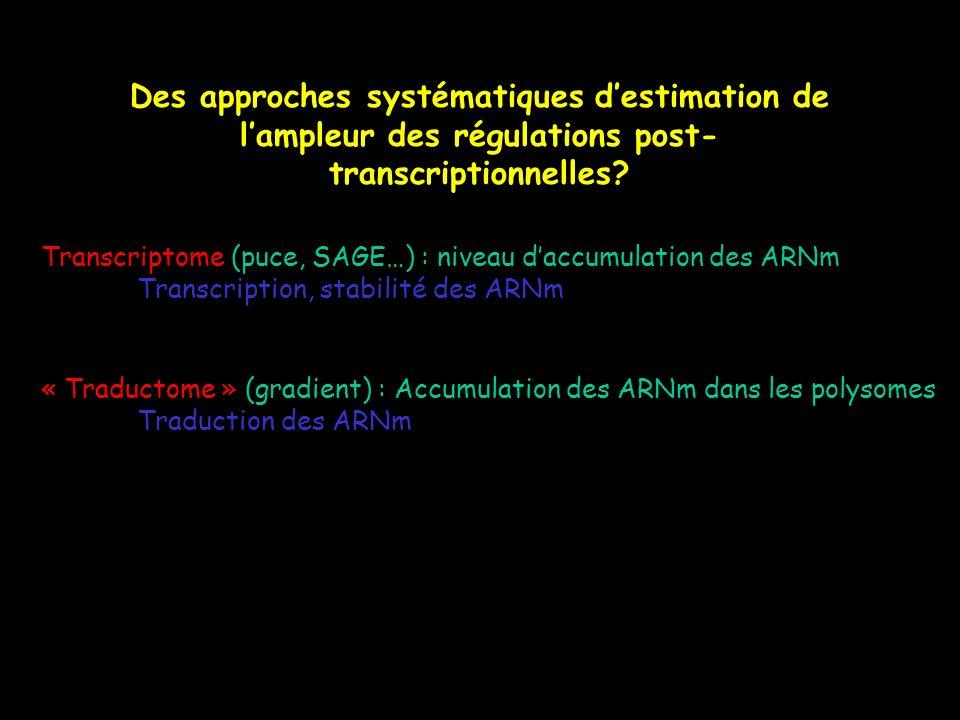 Des approches systématiques d'estimation de l'ampleur des régulations post-transcriptionnelles