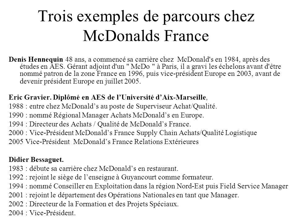 Trois exemples de parcours chez McDonalds France