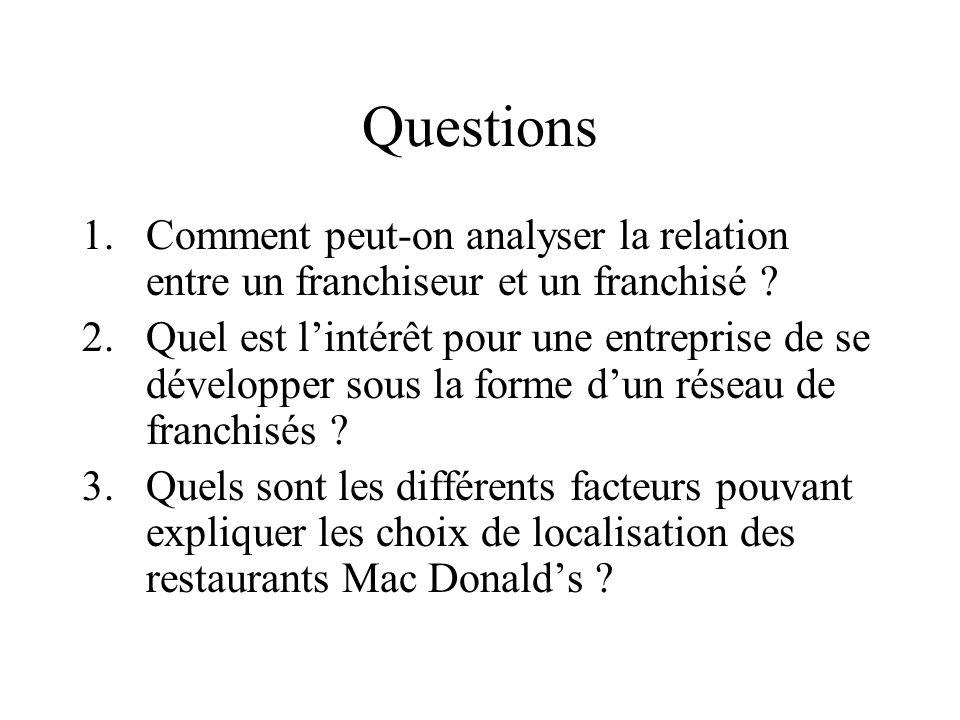 Questions Comment peut-on analyser la relation entre un franchiseur et un franchisé