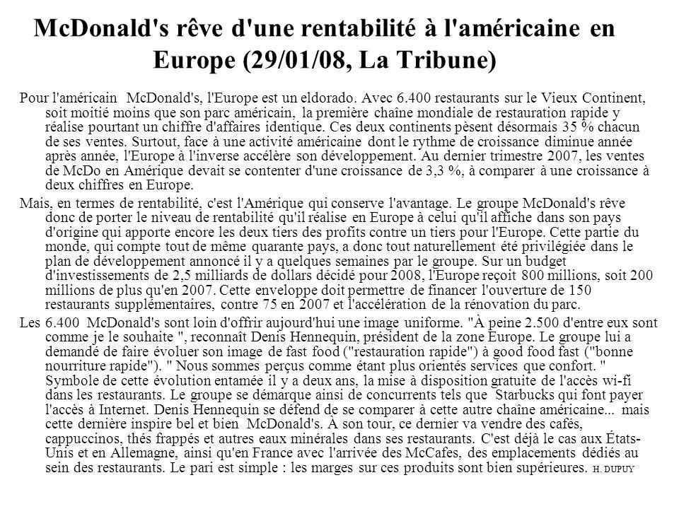 McDonald s rêve d une rentabilité à l américaine en Europe (29/01/08, La Tribune)