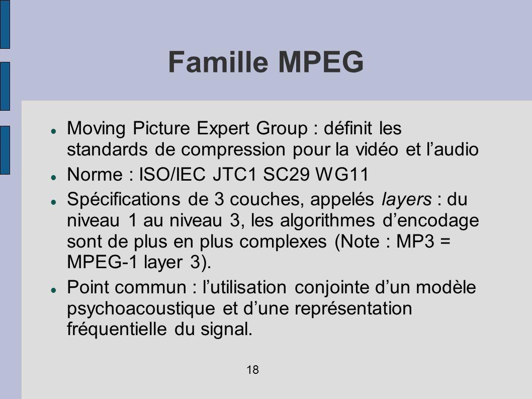 Famille MPEG Moving Picture Expert Group : définit les standards de compression pour la vidéo et l'audio.