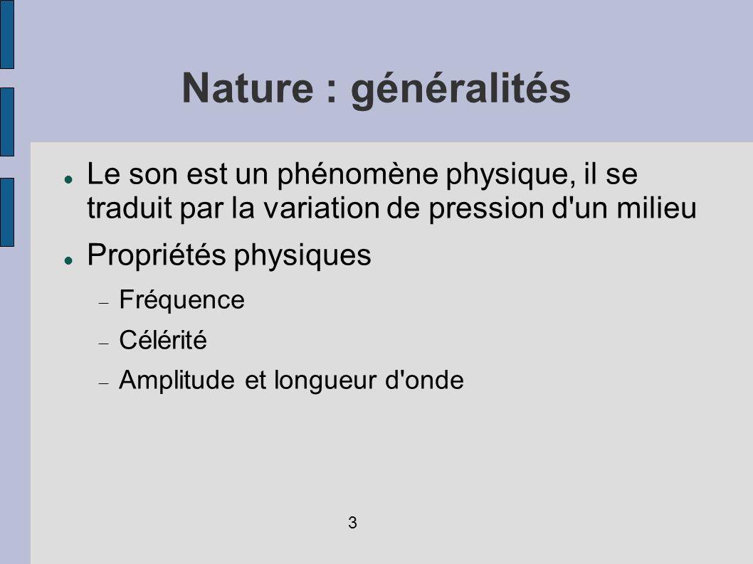Nature : généralités Le son est un phénomène physique, il se traduit par la variation de pression d un milieu.