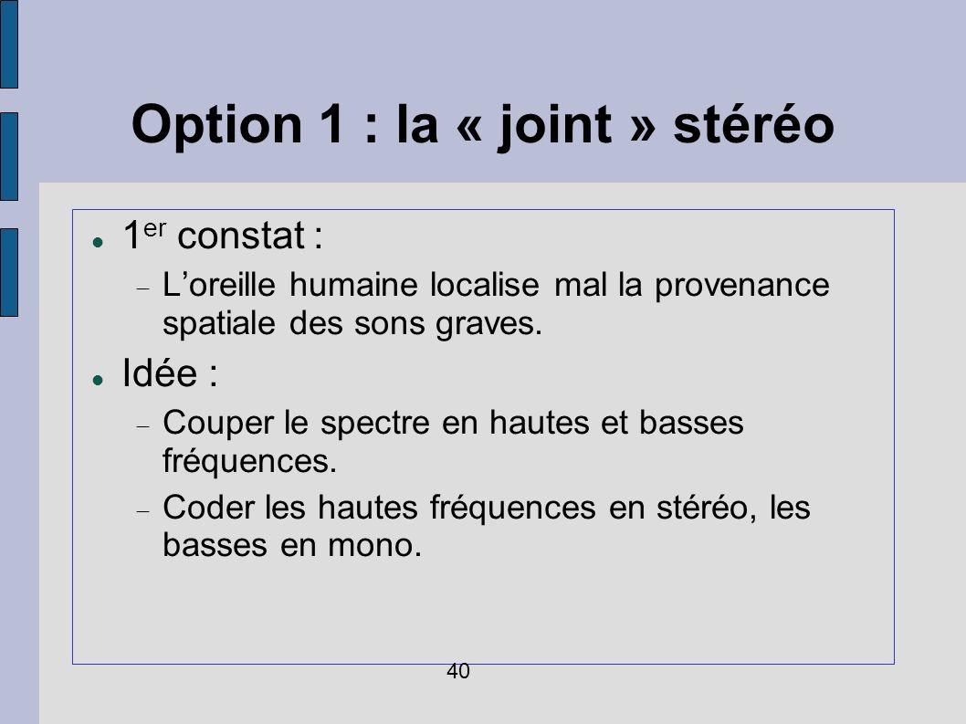 Option 1 : la « joint » stéréo