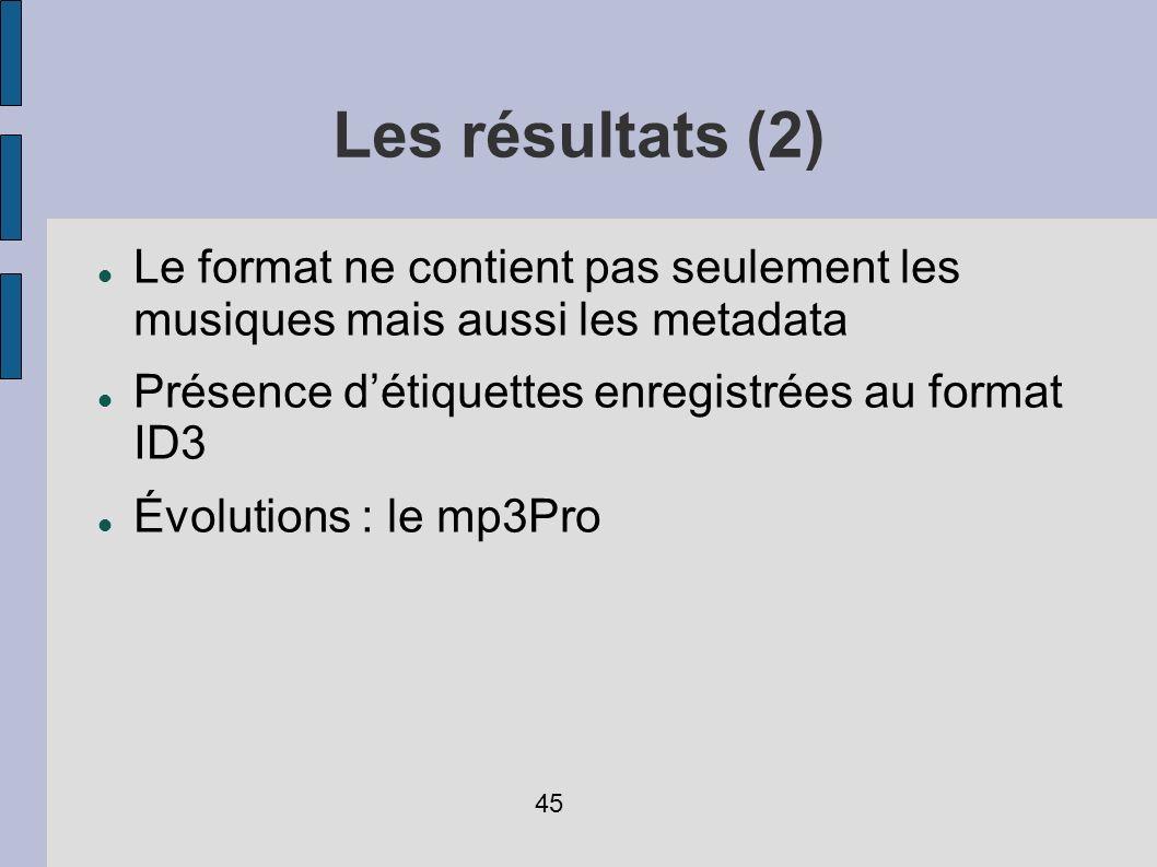 Les résultats (2) Le format ne contient pas seulement les musiques mais aussi les metadata. Présence d'étiquettes enregistrées au format ID3.