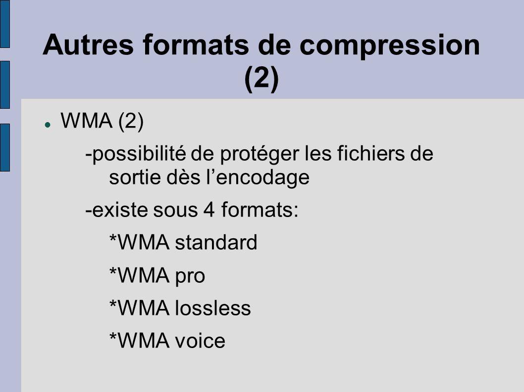 Autres formats de compression (2)