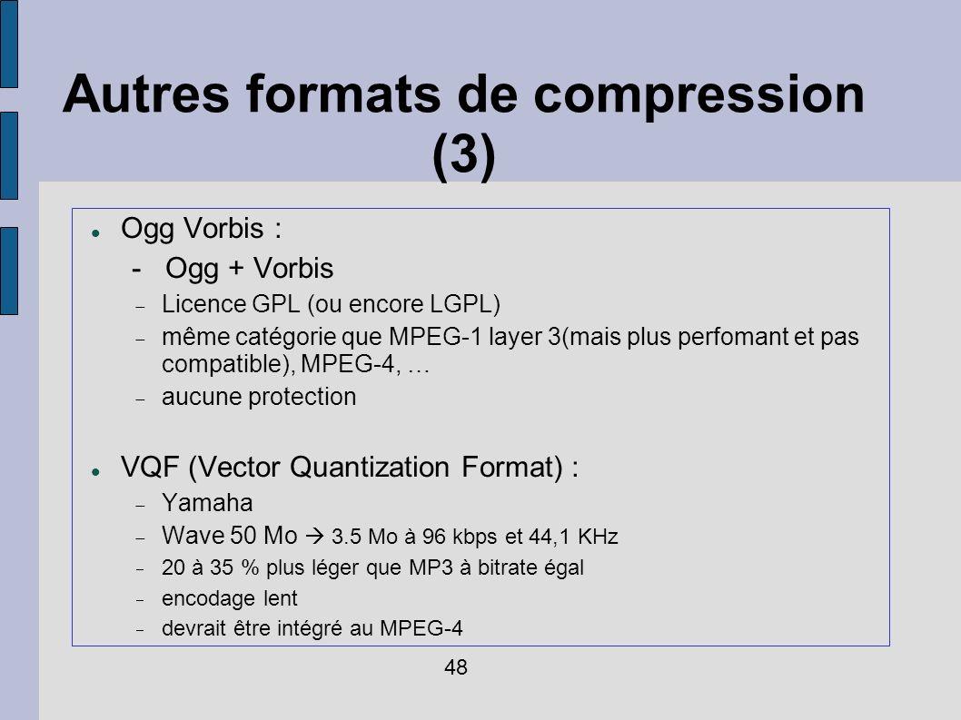 Autres formats de compression (3)