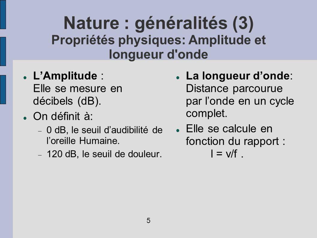 Nature : généralités (3) Propriétés physiques: Amplitude et longueur d onde