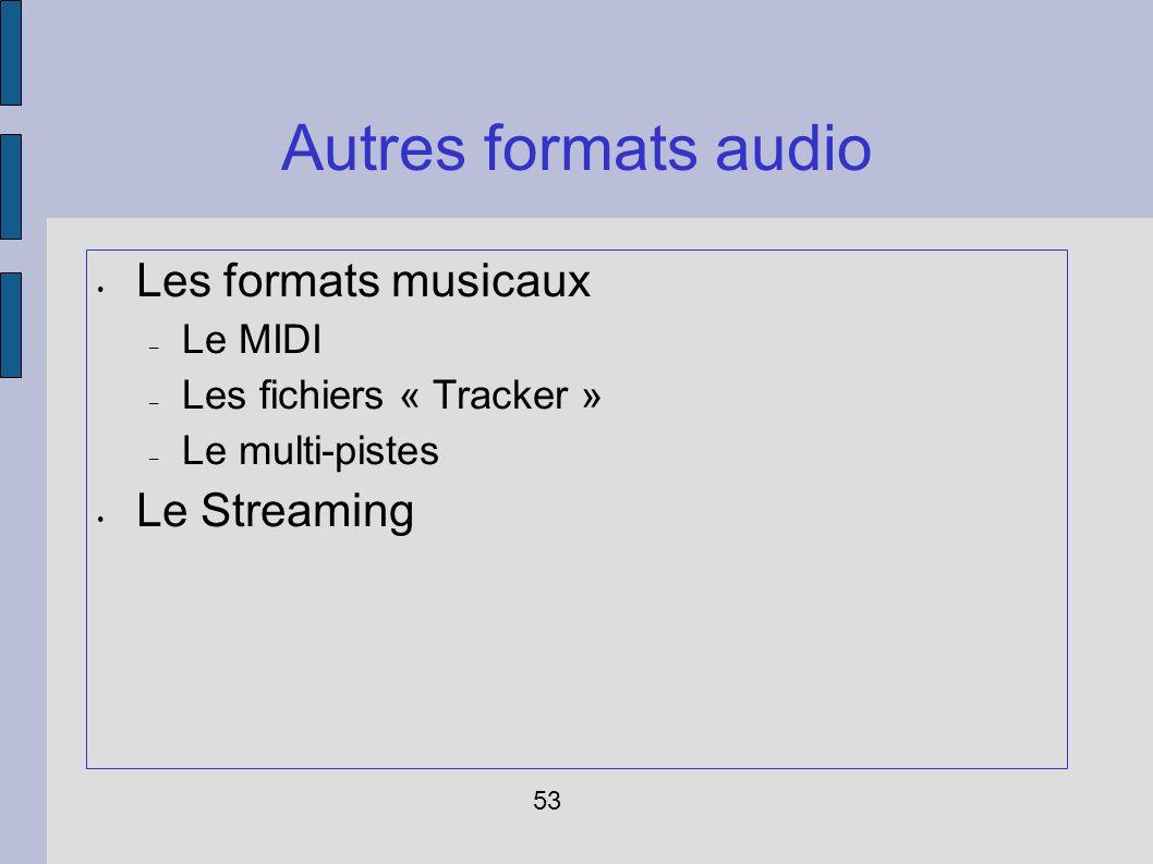 Autres formats audio Les formats musicaux Le Streaming Le MIDI