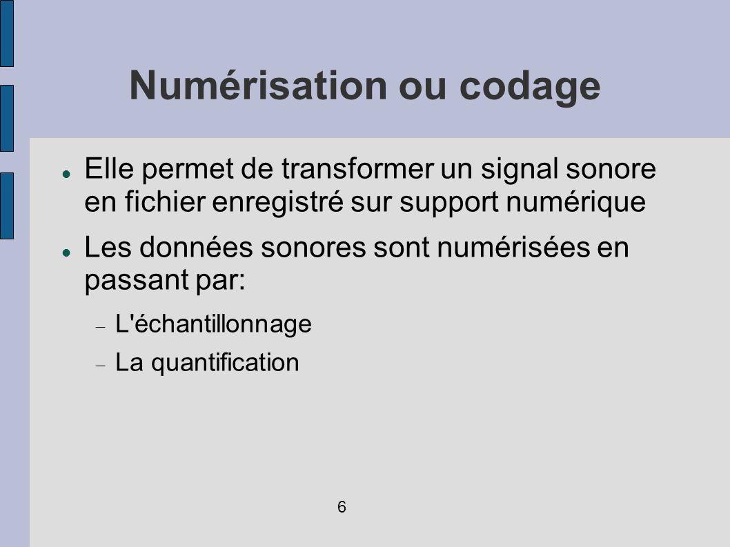 Numérisation ou codage