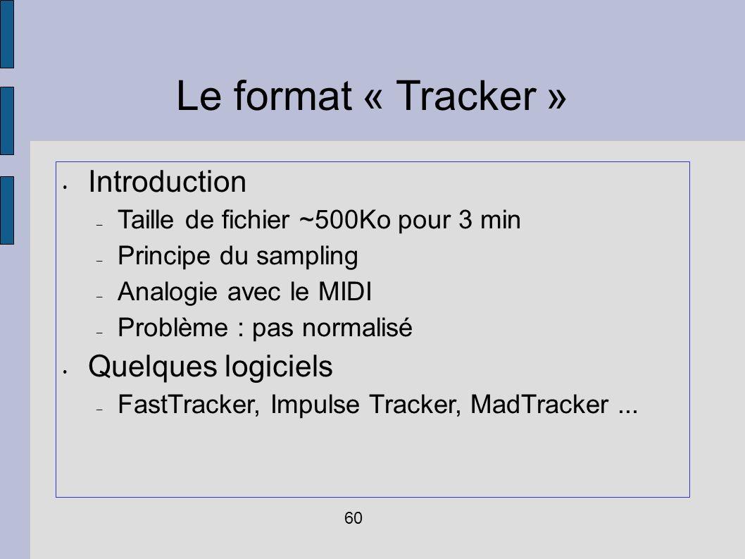 Le format « Tracker » Introduction Quelques logiciels
