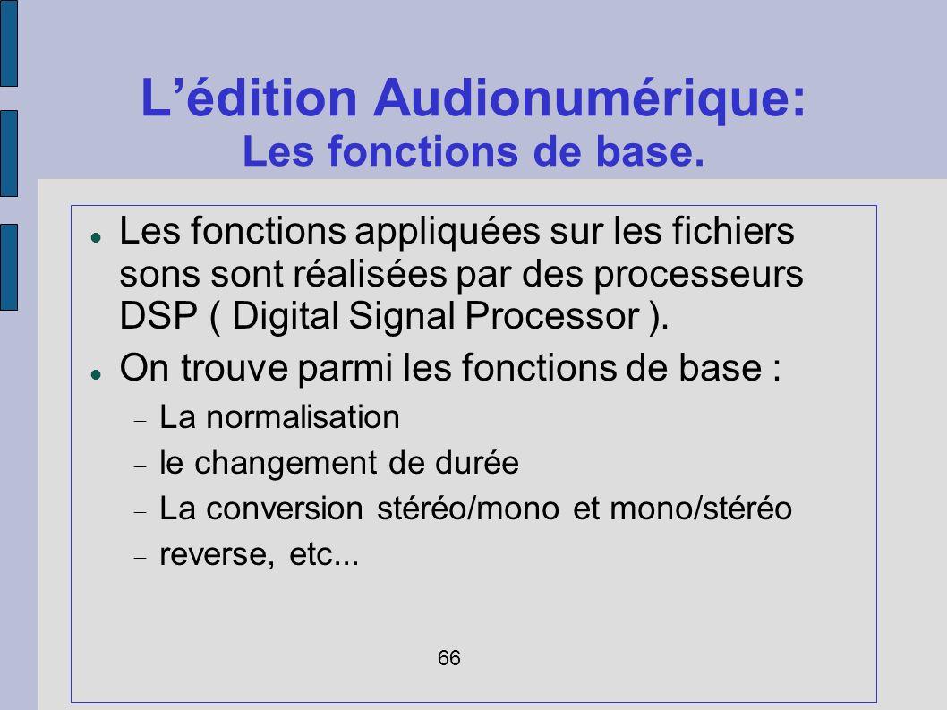 L'édition Audionumérique: Les fonctions de base.